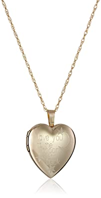 14k Gold-Filled Heart-Shaped Love You To The Moon and Back Locket Necklace, 18""
