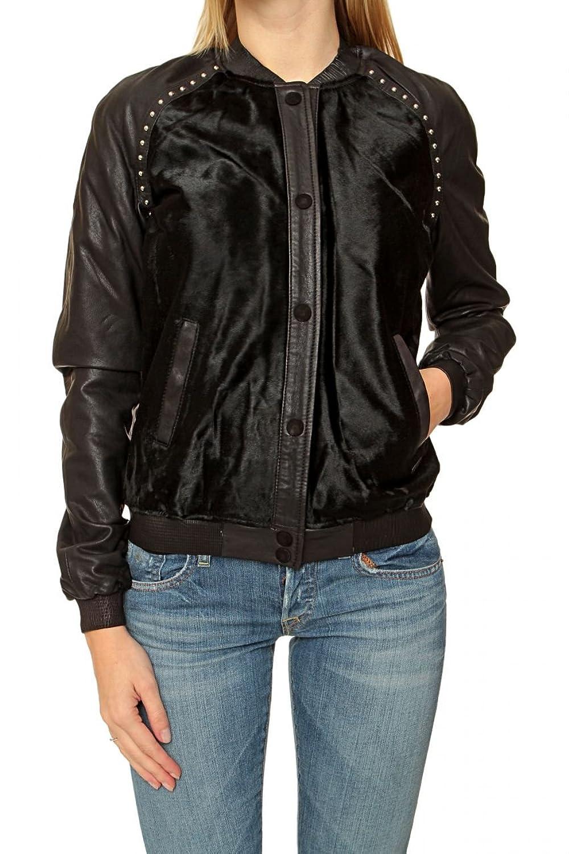 Maison Scotch Damen Jacke Leder Pelzjacke , Farbe: Schwarz online kaufen
