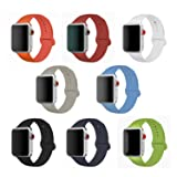 Band for Apple Watch 42mm, Soft Silicone Sport Strap Replacement iWatch Wristband for Apple Watch Series 3 Series 2 Series 1 Sport Edition Nike Versions Men, 8 Pack (42 Large) (Color: 42mm Large)
