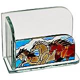Joan Baker Designs Wild Horses Art Glass Business Card Holder (Color: Brown/Cream/White)