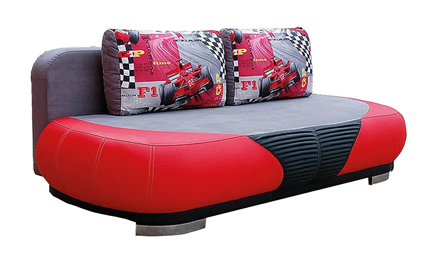 Sofa Schlafsofa Funktions-Sofa RACING rot-grau EXCLUSIV bei uns kaufen