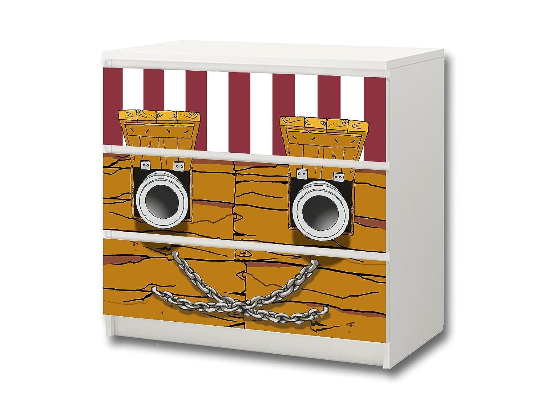 """""""Piraten"""" Möbelsticker / Aufkleber – M3K09 – passend für die Kommode mit 3 Fächern / Schubladen MALM von IKEA – Bestehend aus 3 passgenauen Kinderzimmer Möbelfolien (Möbel nicht inklusive) bestellen"""