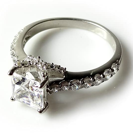 Exquisite Jewels 14ct White Gold 1.75ct CZ diamond engagement ring TG20