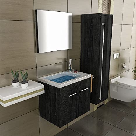 Wash Basin Vanity Cabinet &Mirror black