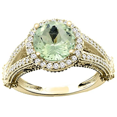 14ct White/Yellow/Rose Gold Natural Green Amethyst Ring Round 8mm Diamond Accent 7/16 inch wide, sizes J - T