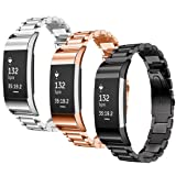 SAILFAR Charge 2 Accessories Bands Fitbit 3PCS Stainless Steel Metal Replacement Bracelet Strap Wrist Smart Watch Band Fitbit Charge 2 HR, Small/Large, Men/Women, Silver, Rose Gold, Black (Color: 3PCS, Stainless Steel)