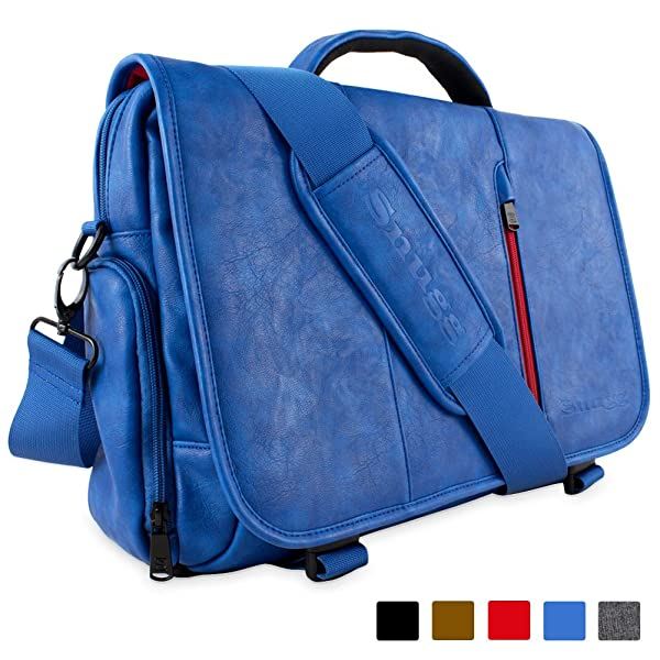 Laptop Bag, Snugg™ Crossbody Shoulder Messenger Bag in Blue Leather - Fits Laptops up to 15.6