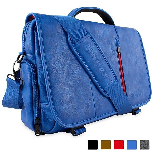 Laptop Bag, Snugg™ Crossbody Shoulder Messenger Bag in Blue Leather - Fits Laptops up to 15.6