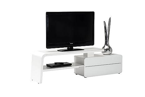 Jahnke SL 4180 WGL/MATT WS T.1-2 TV Lowboard, E1 Spanplatte, lackiert, Sicherheitsglas, Metall, weißglas / matt-weiß, 180 x 45 x 51 cm