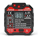 NEW Advanced With voltage display GFCI Outlet Tester 48-250V Power Socket Automatic Electric Circuit Polarity Voltage Detector Wall Plug Breaker Finder TA106B (Color: Outlet Tester)
