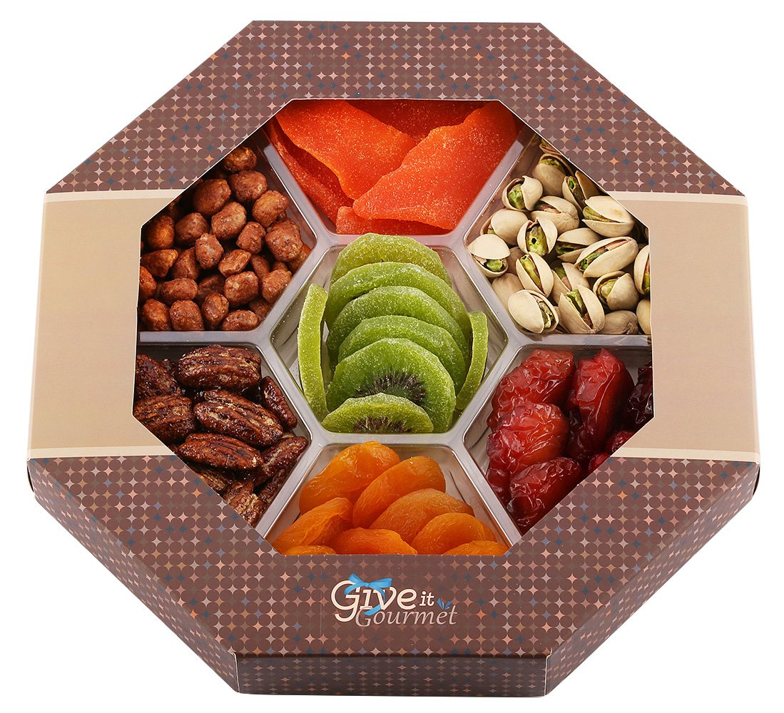 GIVE IT GOURMET, Assorted Dried Fruits and Nuts Gift Basket (7 Section) - Variety of Delicious dry Mango, Plums, Apricots, Kiwi, Honey Glazed Pecans, Peanuts and Roasted Salted Pistachios - | Large Healthy Gift Tray