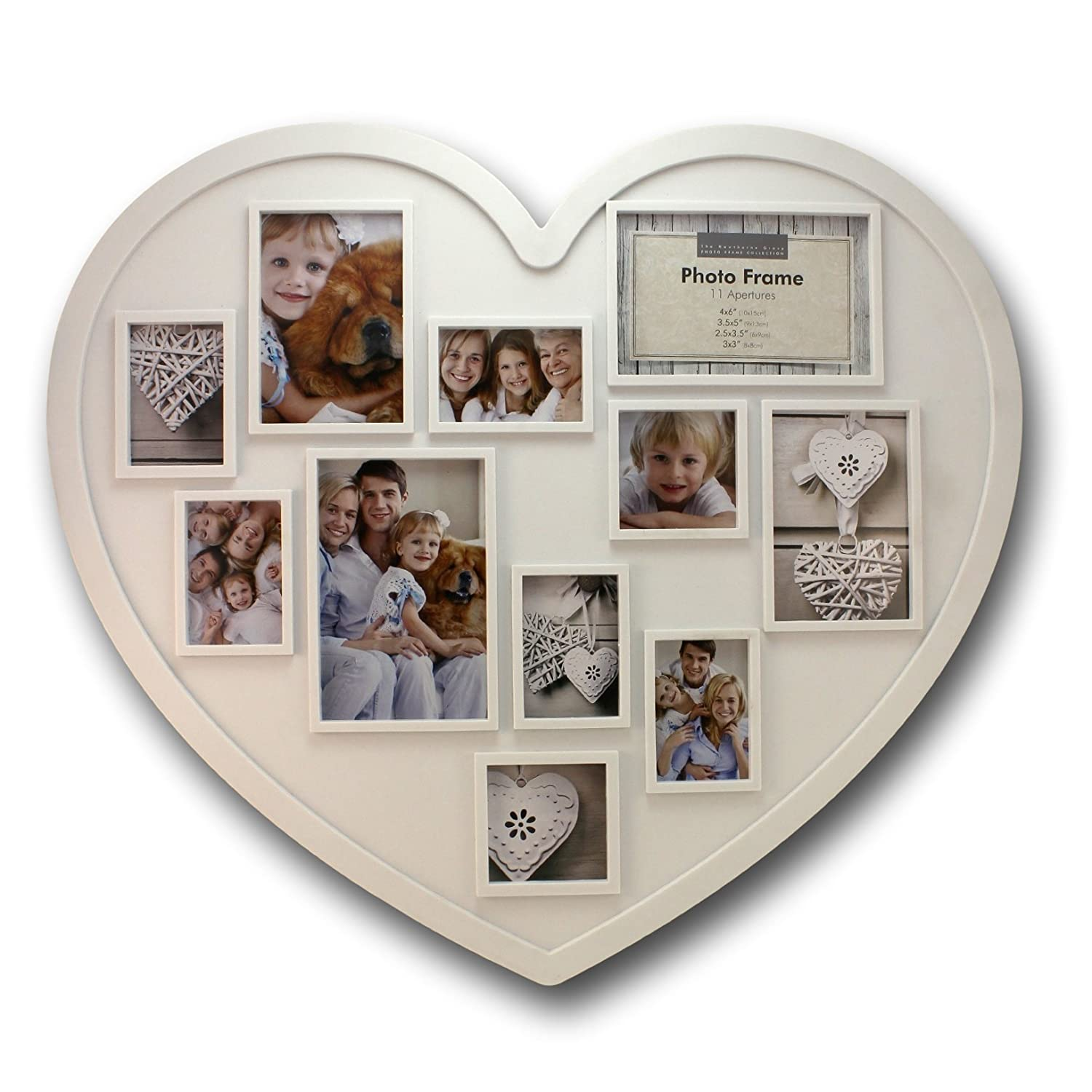 20 x 18 Inch, 11 Photo Collage Frame – Large Heart Shaped White ...
