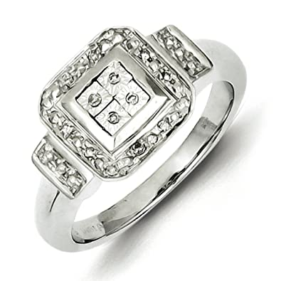 Sterling Silver Diamond Square Ring - Ring Size Options Range: L to P
