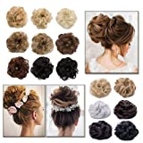 Scrunchy Updo Hair Extensions Wavy Curly Hair Bun Messy Donut Chignons Synthetic Scrunchies Hairpiece Ombre Gradient Color Blonde Brown Black (Color: Light Brown & Ash Blonde, Tamaño: 2 pcs)