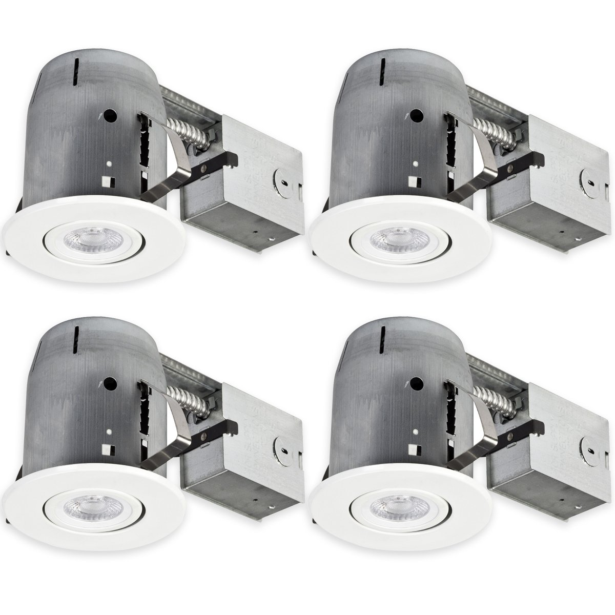 "Globe Electric 90957 LED IC Rated Swivel Spotlight Round Recessed Lighting Kit Dimmable Downlight, LED Bulbs Included (4 Pack), 5"", White"