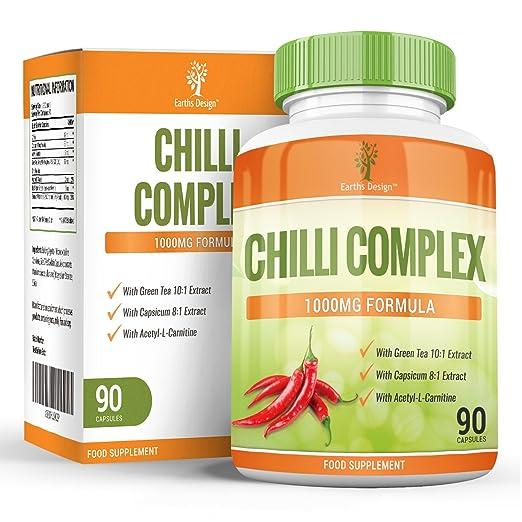 Chilli Burn Komplex, Starker Fatburner fur Männer & Frauen zum Abnehmen, Capsaicin zur Förderung des Stoffwechsels, Naturliches Nahrungsergänzungsmittel zur Gewichtsabnahme – 90 Kapseln
