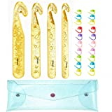 Looen Extra Long Large Size 25mm 20mm 18mm 15mm Huge Crochet Hook Set and 20 Pieces Stitch Markers with Transparent Case-Giant Yarn Knitting Needle for Blanket Rag Rugs Shawl Craft (Color: yellow, Tamaño: L)