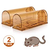 Humane Smart Mouse Trap, No Kill Mice Catcher, Live Catch and Release Rodents, Safe for Children and Pets, Humane Rat Poison (Brown, 2 Pack) (Color: Brown)