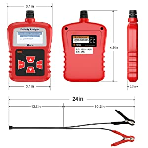 Kzyee KS21 Car Battery Tester, Automotive 100-1700 CCA 12V Battery Load Tester Cranking and Charging System Diagnostic Tool Digital Battery Analyzer (Color: Red)