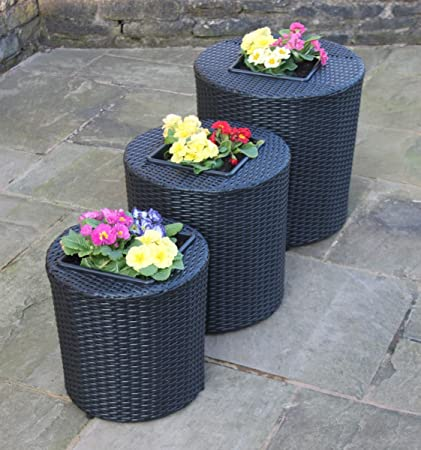 3 Er Set Rattan Gartenmöbel Runden Blumentöpfe / Pflanzgefäße in Schwarz