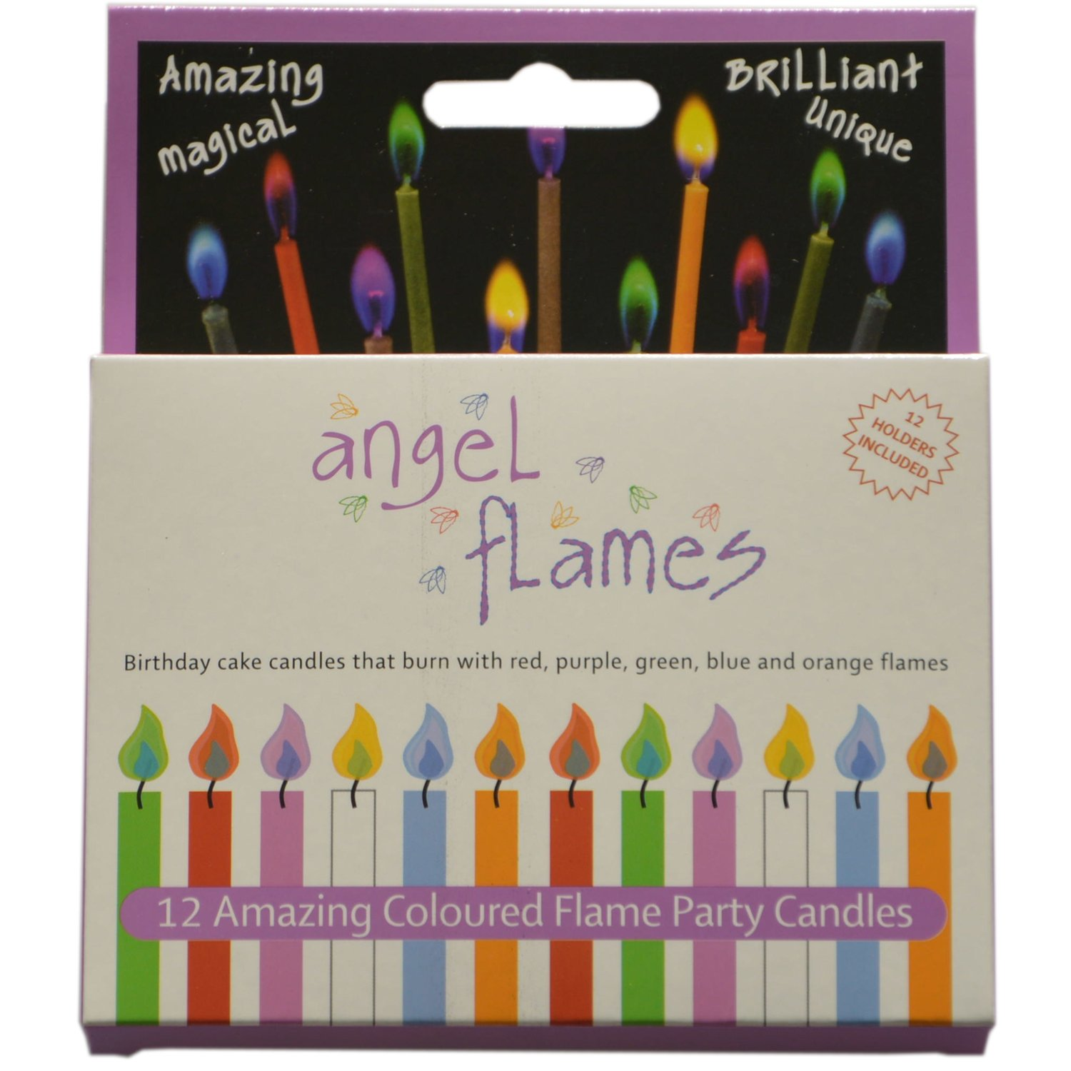 AngleFlames Birthday Candles with Colored Flames (12 per box, holders included) (12, Medium)