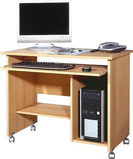 Dreams4Home Schreibtisch 'Halmstad' - Burotisch, Tisch, Computertisch, Arbeitstisch,Buro, Tastaturauszug, B/H/T: 90 x 72 x 48, Buche, made in Germany, Druckerfach, auf Laufrollen