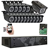 GW Security 16 Channel NVR H.265 License Plate PoE Security Camera System with 15 x 5MP 1920p 2.8-12mm Varifocal Bullet IP Camera and 1 x 3M 1536p IP License Plate Camera (Color: H.265 License Plate Motorized Zoom - Bullet Camera, Tamaño: 15 IP Cameras + 1 License Plate Camera)