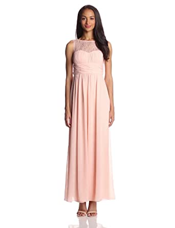 Hailey by Adrianna Papell Women's Sleeveless Lace Bodice Gown, Peach, 2