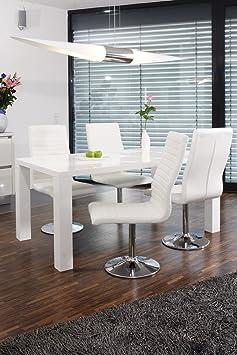 SalesFever Essgruppe Tisch 140x90 cm weiß mit 4 Stuhlen Lio aus Kunstleder Luke Stuhle weiß