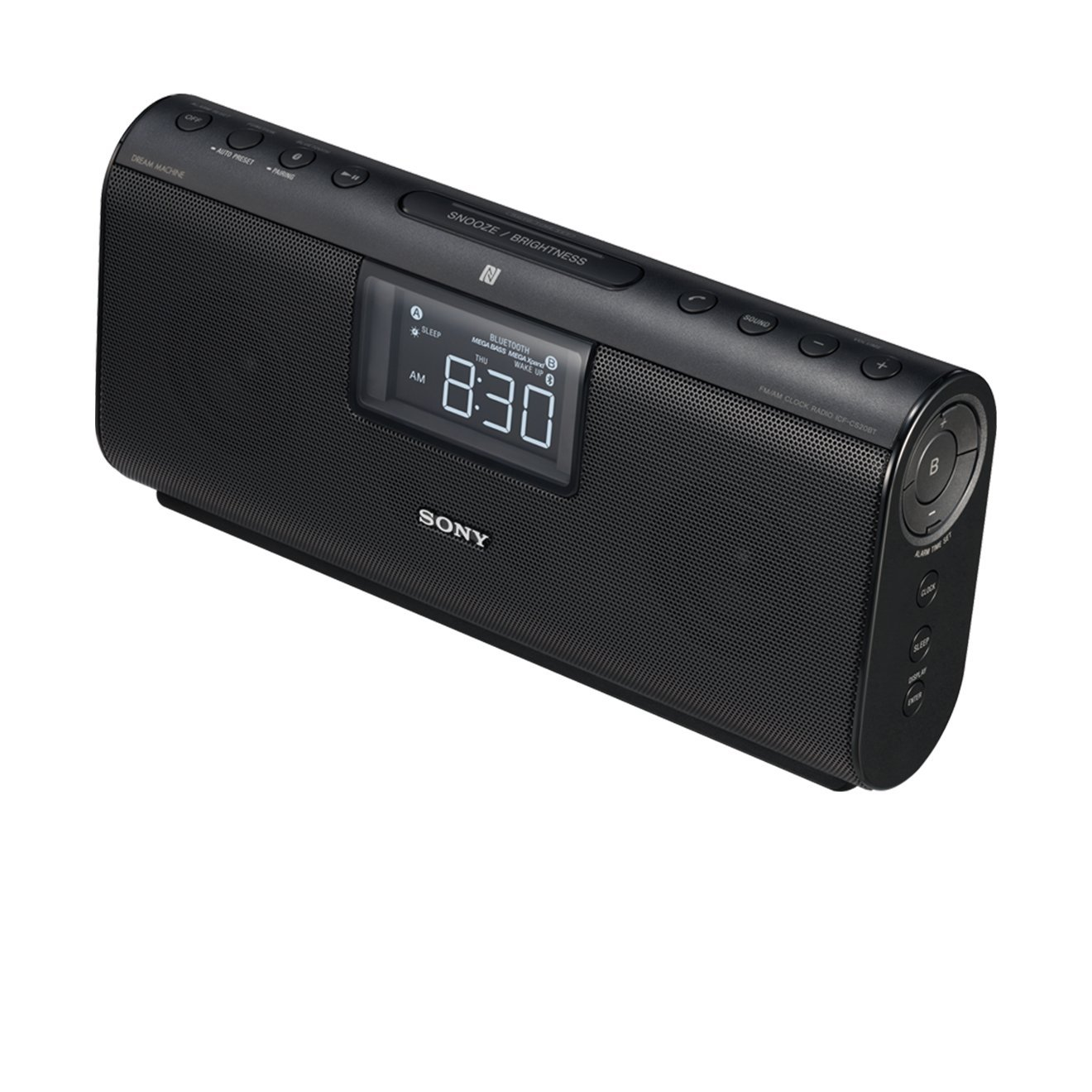 Sony ICF-CS20BT Hands Free Clock Radio with Bluetooth and NFC - Black