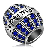JMQJewelry Birthday Charms Bead For Bracelets (Blue, September Birthstone)