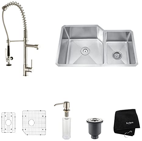 "Kraus KHU123-32-KPF1602-KSD30SS 32"" Undermount Double Bowl Stainless Steel Kitchen Sink with Stainless Steel Finish Kitchen Faucet and Soap Dispenser"