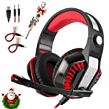 Professional PC Gaming Headset with Mic for PS4, Xbox One, Pro Over-Ear Headphones with USB LED Light, Noise Cancelling, Stereo Bass Surround, Volume Control for Laptop, Computer, Smartphones (Color: Red, Tamaño: Medium)