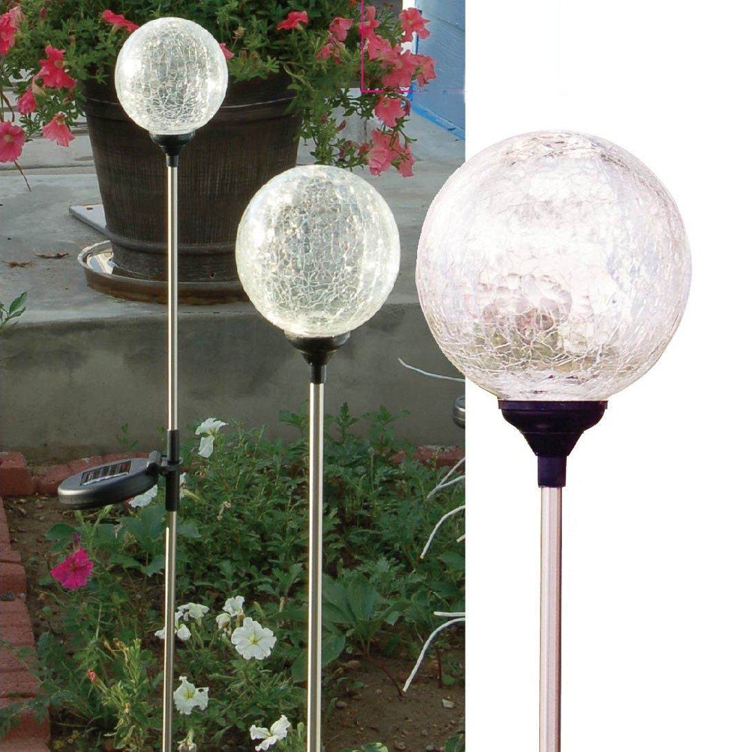"Solaration174; Crackle Glass Globe Solar Lawn Light, 3.5"" Dia (3 Pack)"