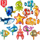PROLOSO Foil Animal Balloons Aluminum Sea Creatures Tropical Fish Mylar Self-Sealing Party Pack of 13 (Large) (Color: Multi-colored, Tamaño: large)