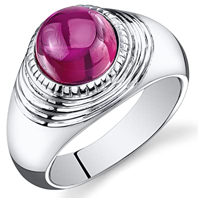 Revoni Mens 6.50 Carats Round Cabochon Ruby Ring In Sterling Silver With Rhodium Finish