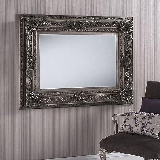 "Dallas X Large Rectangle Ornate Wall Mirror Silver 132cm x 101.5cm 52"" x 40"""