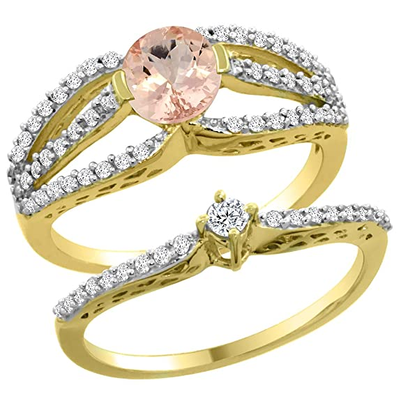 14ct Yellow Gold Natural Morganite 2-piece Engagement Ring Set Round 5mm, sizes J - T