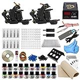ITATOO Complete Tattoo Kit for Beginners Tattoo Power Supply Kit 20 Tattoo Inks 50 Tattoo Needles 2 Pro Tattoo Machine Kit Tattoo Supplies TK1000001