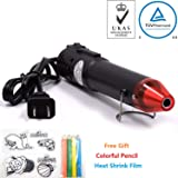 mofa Embossing Heat Gun,Hot Air Gun Tools Shrink Gun with Stand For DIY Embossing And Drying Paint Multi-Purpose Electric Heating Nozzle 130W With Heat Shrink Film,Colorful Pencil For Free(Black,Red) (Color: Black,Red)