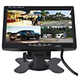 Camecho 7 inch Split Quad Monitor 4 Channel Video Input Full HD Color Image For Car Backup Camera System & Home Surveillance Security