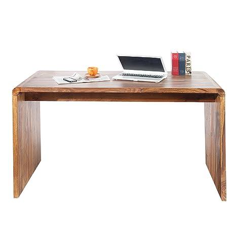 Massiver Schreibtisch CUBE 150cm Sheesham Palisander Holz Stone Finish Holztisch Burotisch Massivholz
