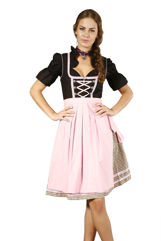 3tlg. Dirndl Set schwarz rosa hellbraun kariert mit Bluse und Schürze jetzt bestellen