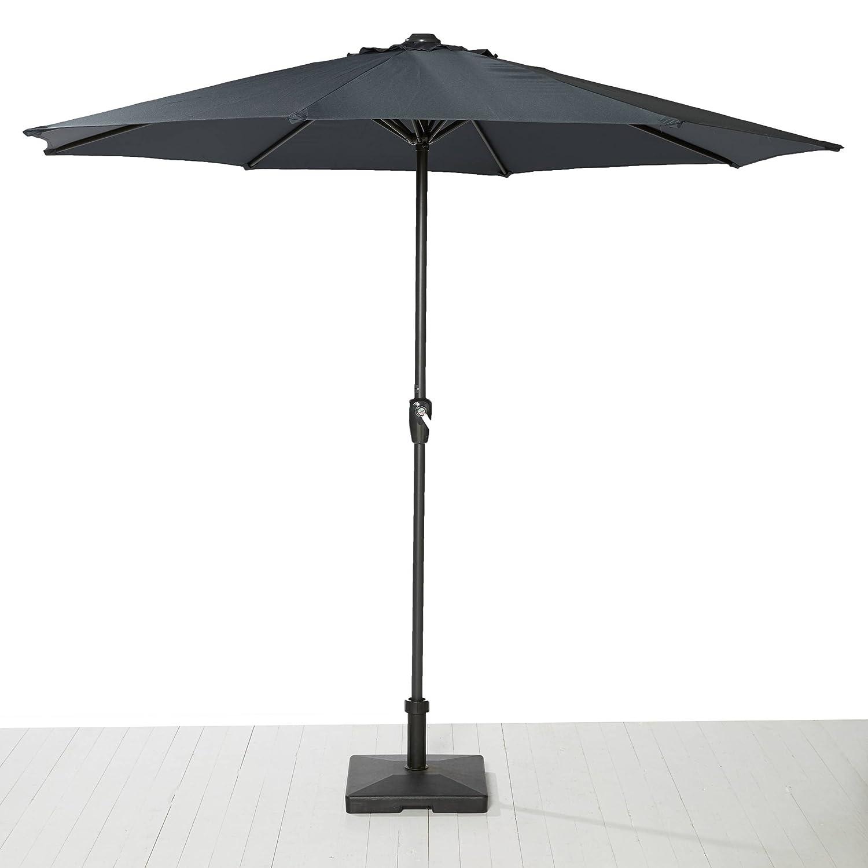 Sonnenschirm dunkelgrau mit Kurbel zum zusammenrollen Gartenschirm Sonnenschutz günstig kaufen
