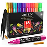 ARTEZA Liquid Chalk Markers Set of 16 (16 Bright Colors, 16 Replaceable Chisel Tips, 1 pc Tweezers, 50 Labels, 2 Sticky Stencils) - Dust-Free - Water Based Chalkboard Markers - Non Toxic – Multi-Use (Color: Bright Colors)