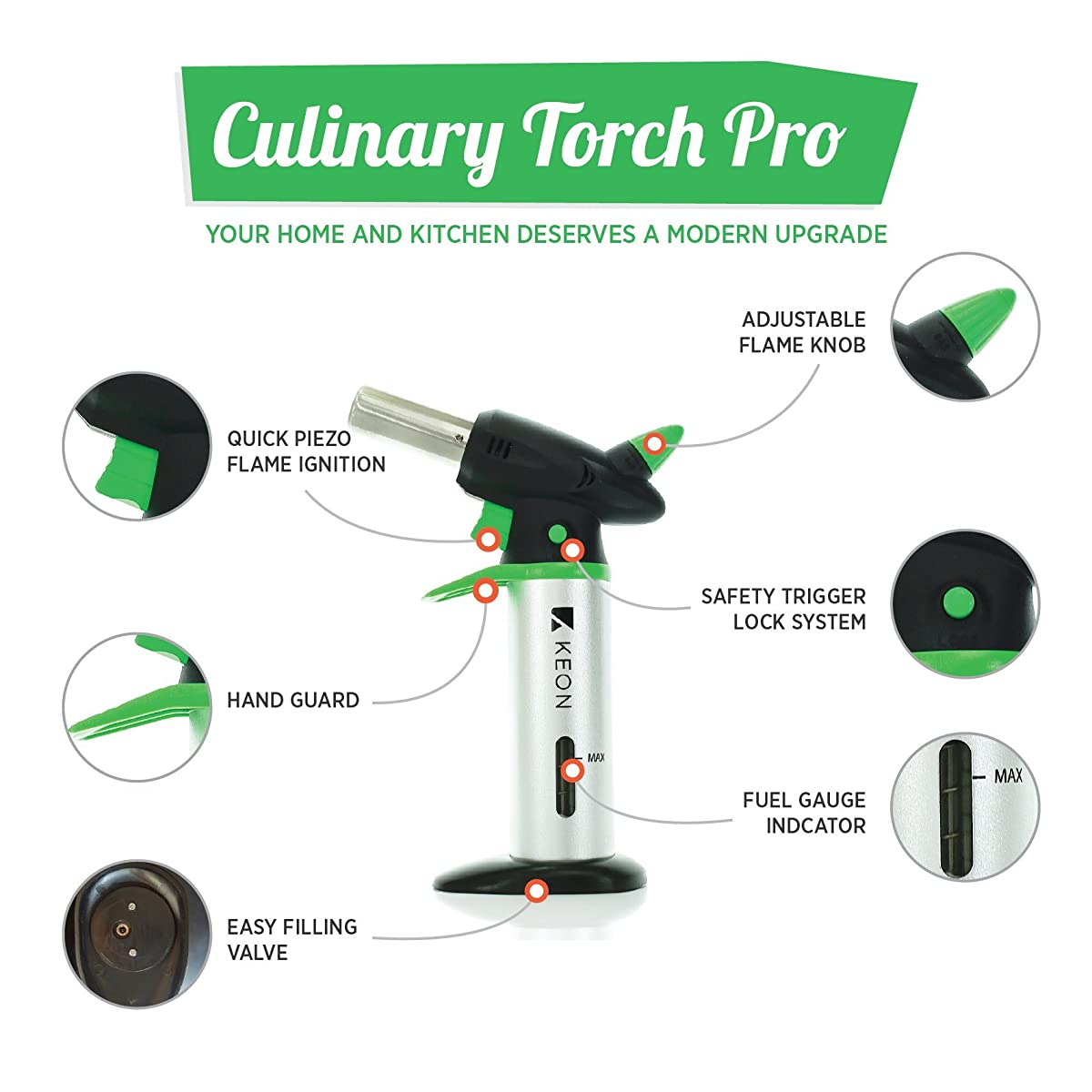 Butane Torch For Kitchen - Best Food Blow Torch For Creme Brulee - Chef Grade Culinary Tool For Cooking - Professional Safety Lock With Fuel Gauge
