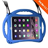 TopEs iPad Mini Case Kids Shockproof Handle Stand Cover&(Tempered Glass Screen Protector) for iPad Mini, Mini 2, Mini 3 and iPad Mini Retina Models (Blue) (Color: Blue)