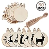 MACTING 50 Pieces Round Wood Slices with Holes, Christmas Blank Wood Discs Natural Wood Slices 2.8