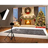 7x5ft Microfiber Christmas Photography Backdrops Fireplace Garland Seamless Photo Booth Prop Gold Star Bell Christmas Tree Background for Photo Studio (Color: christmas1, Tamaño: 7x5ft)