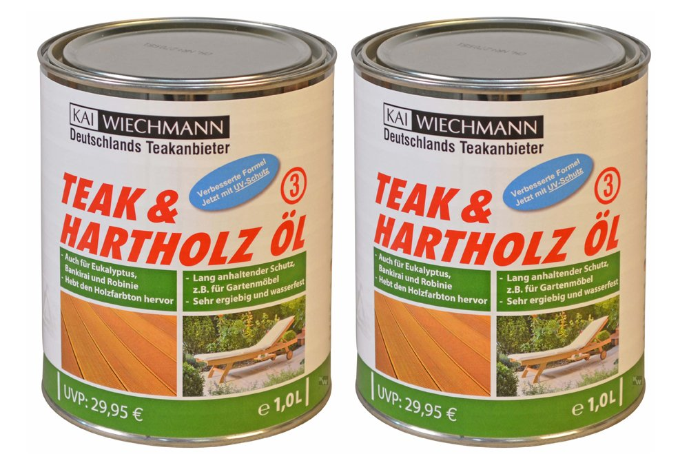 Original Kai Wiechmann Teak & Hartholzöl, 2 Liter, 2000 ml, sehr ergiebig
